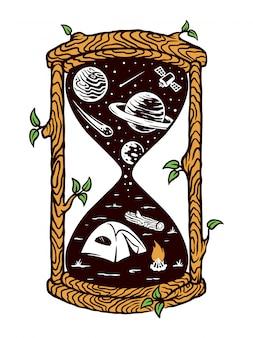 Ilustração de ampulheta natural