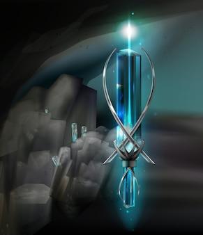 Ilustração de amuleto de prata mágico feito com pedras preciosas