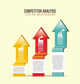 Ilustração de análise concorrente com setas de fundo vector