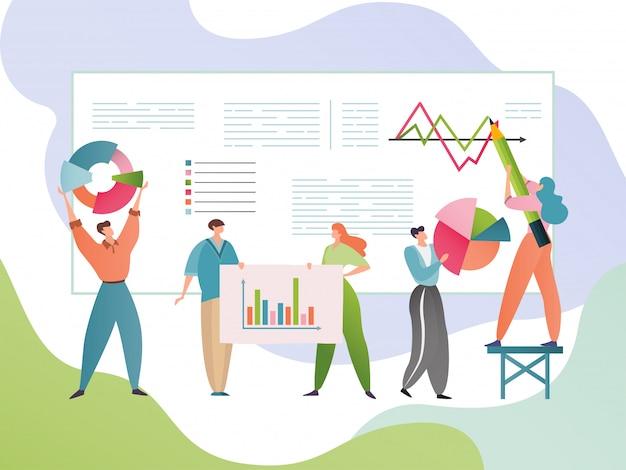 Ilustração de análise de dados comerciais. pessoas personagens de desenhos animados analisam informações estatísticas. conceito de pesquisa analítica.