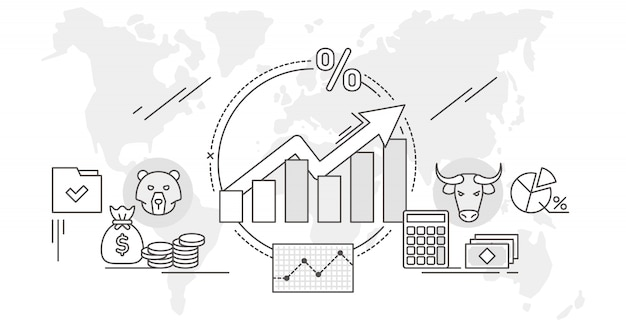 Ilustração de análise de dados do conceito de estrutura de tópicos do mercado de ações