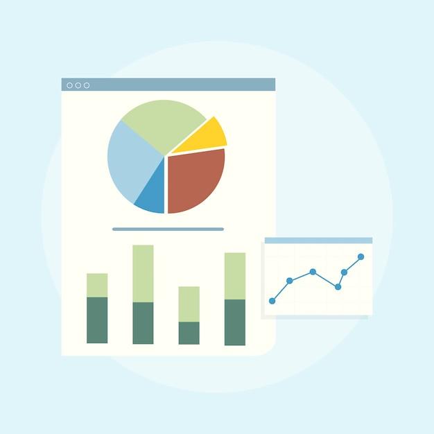Ilustração de análise de gráfico de negócios
