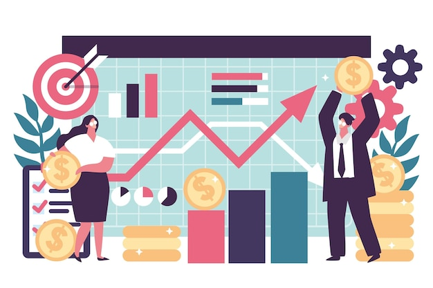 Ilustração de análise do mercado de ações