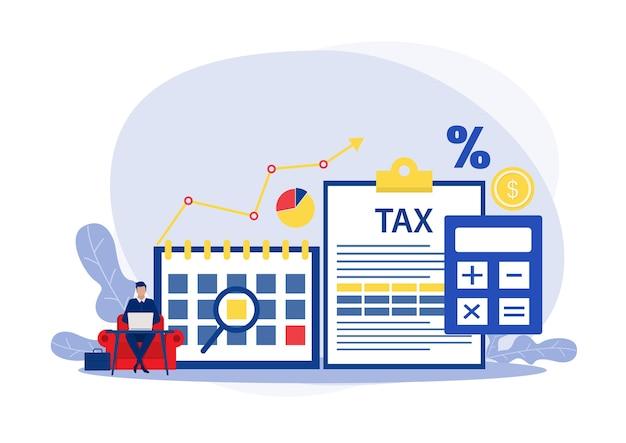 Ilustração de análise financeira fiscal