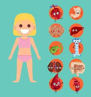 Ilustração de anatomia do corpo feminino com menina sorridente
