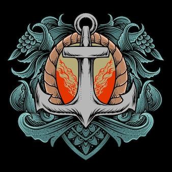 Ilustração de âncora de vela com estilo de gravura