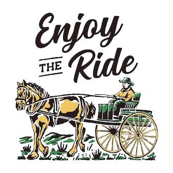 Ilustração de andar de carroça