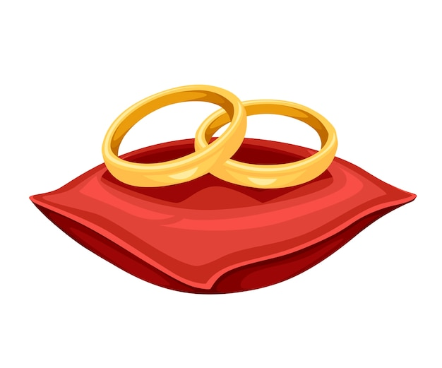 Ilustração de anéis de casamento dourados em almofada de veludo vermelho