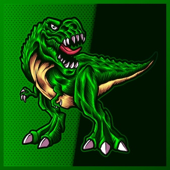 Ilustração de angry green raptor com uma boca grande, dentes abertos e afiados no fundo de cores. ilustração desenhada à mão para o esporte da mascote