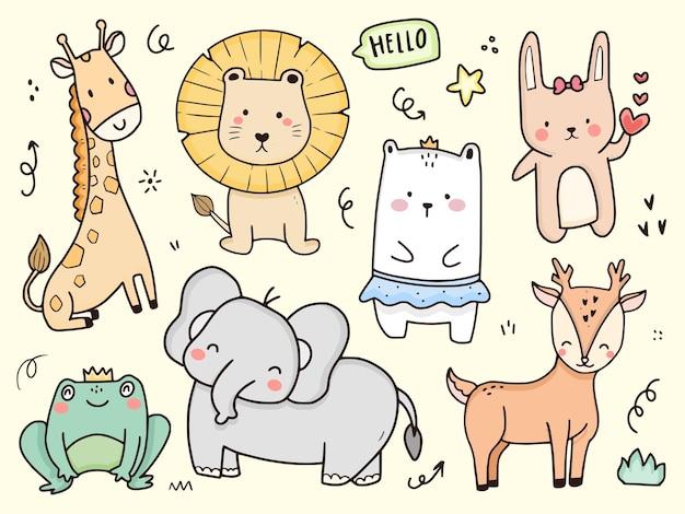 Ilustração de animais bonitos de leão e coelho desenhando desenhos de páginas para colorir para crianças e bebês