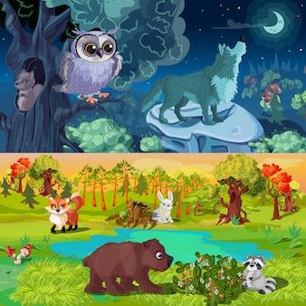 Ilustração de animais da floresta