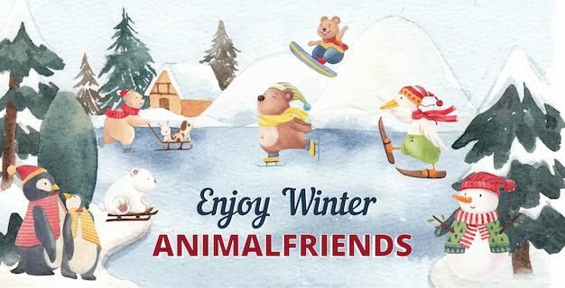 Ilustração de animais de inverno