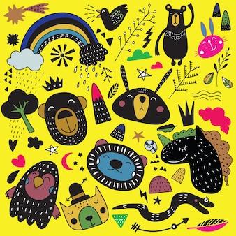 Ilustração de animais desenho dos desenhos animados