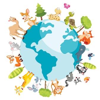 Ilustração de animais dos desenhos animados
