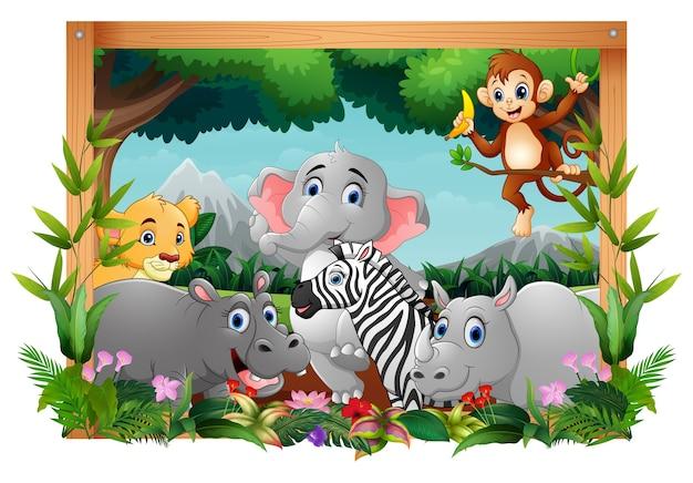 Ilustração de animais felizes em moldura quadrada