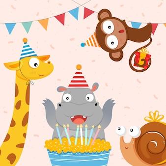 Ilustração de animais fofos comemorando aniversário