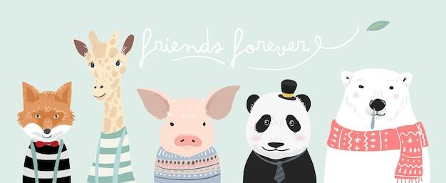 Ilustração de animais fofos dos desenhos animados