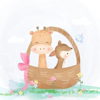 Ilustração de animais fofos e engraçados