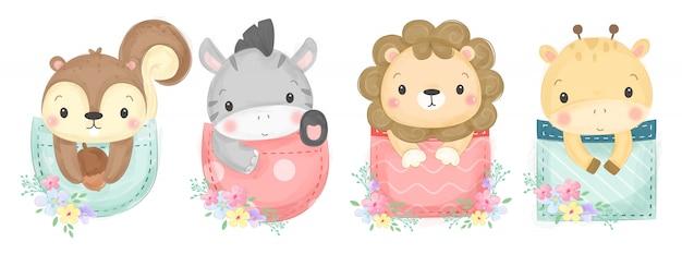 Ilustração de animais fofos em aquarela