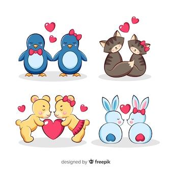 Ilustração de animais fofos no conjunto de amor