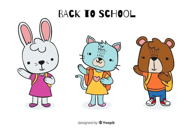 Ilustração de animais fofos para voltar ao evento da escola
