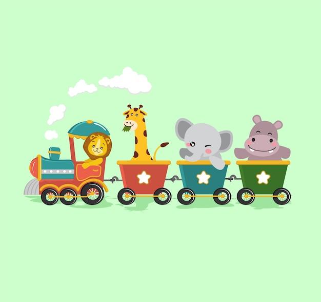 Ilustração de animais fofos safári trem crianças