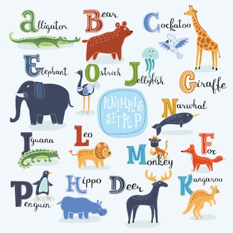 Ilustração de animais sorridentes do alfabeto fofo dos desenhos animados de a a h com nomes em inglês
