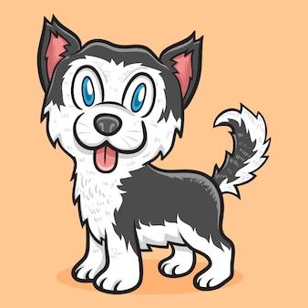 Ilustração de animal cão husky siberiano fofo