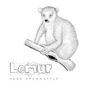 Ilustração de animal desenhada à mão de lêmure
