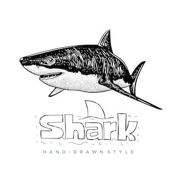 Ilustração de animal desenhada à mão de tubarão