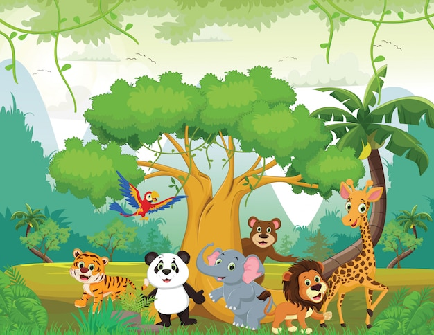 Ilustração de animal feliz na selva