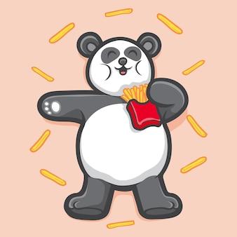 Ilustração de animal fofo panda segurando batatas fritas