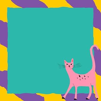 Ilustração de animal funky de vetor de moldura de gato rosa