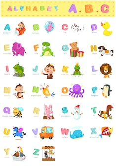 Ilustração, de, animal, letra alfabeto, az