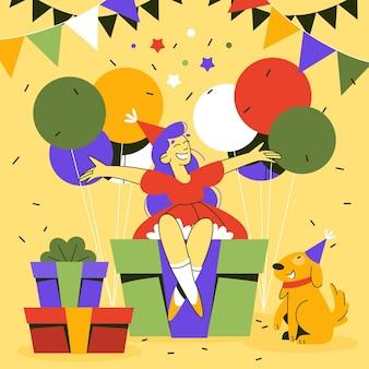 Ilustração de aniversário com presentes