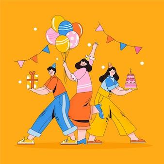 Ilustração de aniversário de celebração de pessoas