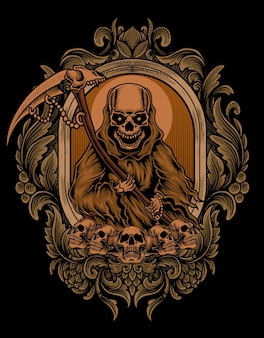 Ilustração de anjo da morte assustador com ornamento de gravura antiga