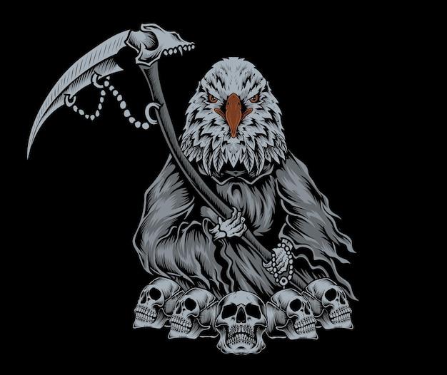 Ilustração de anjo da morte de águia com caveira vintage