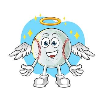 Ilustração de anjo de beisebol com asas
