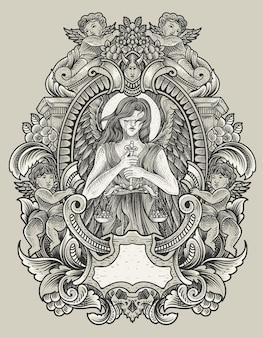 Ilustração de anjo de justiça com gravura de estilo de ornamento