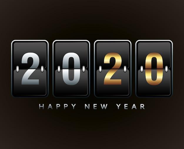 Ilustração de ano novo com contador analógico