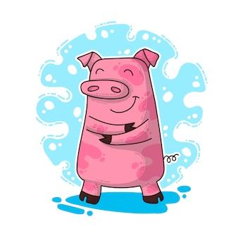 Ilustração de ano novo com porco