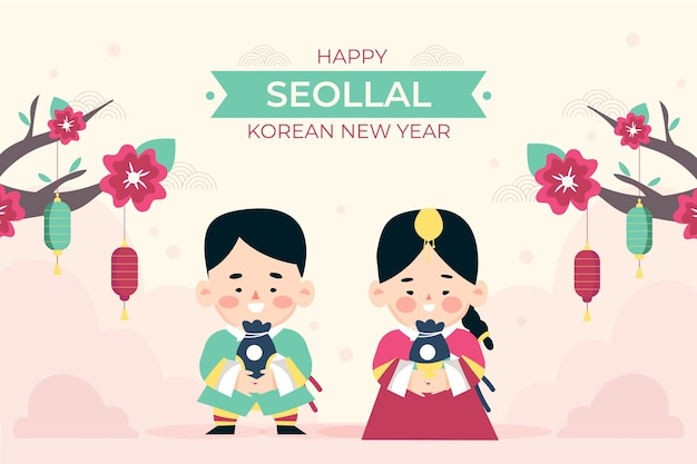 Ilustração de ano novo coreano