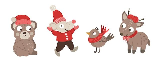 Ilustração de ano novo de urso, veado, rato, pássaro
