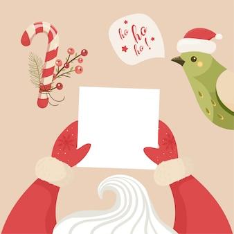 Ilustração de ano novo e feliz natal papai noel está segurando uma carta.