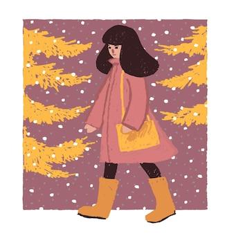 Ilustração de ano novo em estilo ingênuo, uma garota andando com uma bolsa atrás da árvore de natal
