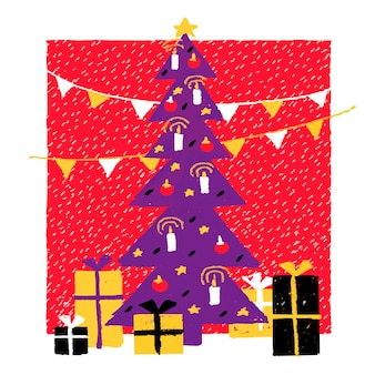 Ilustração de ano novo em um estilo ingênuo decorado a árvore de natal com presentes