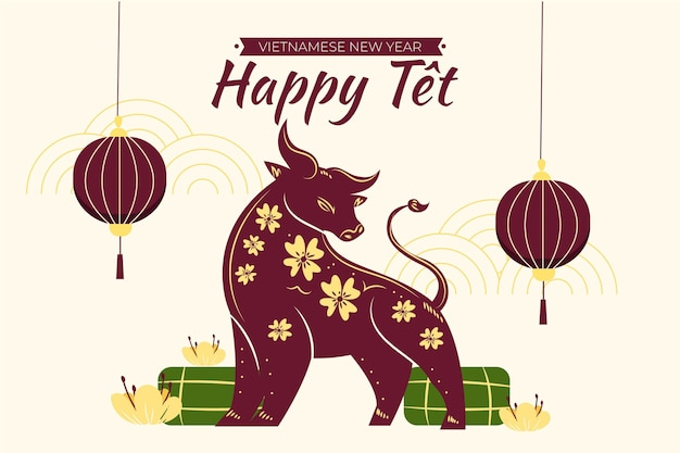 Ilustração de ano novo vietnamita