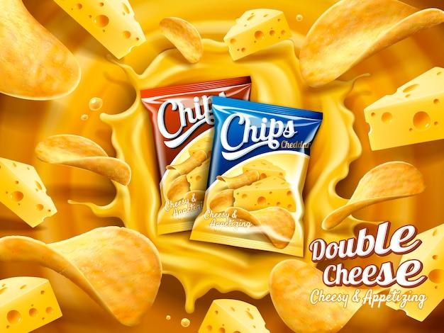 Ilustração de anúncio de batata frita com queijo duplo