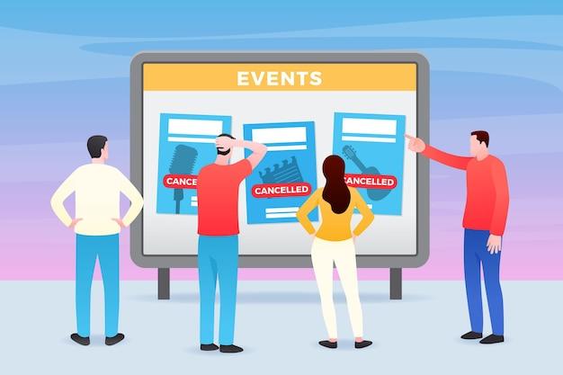 Ilustração de anúncio de eventos cancelados